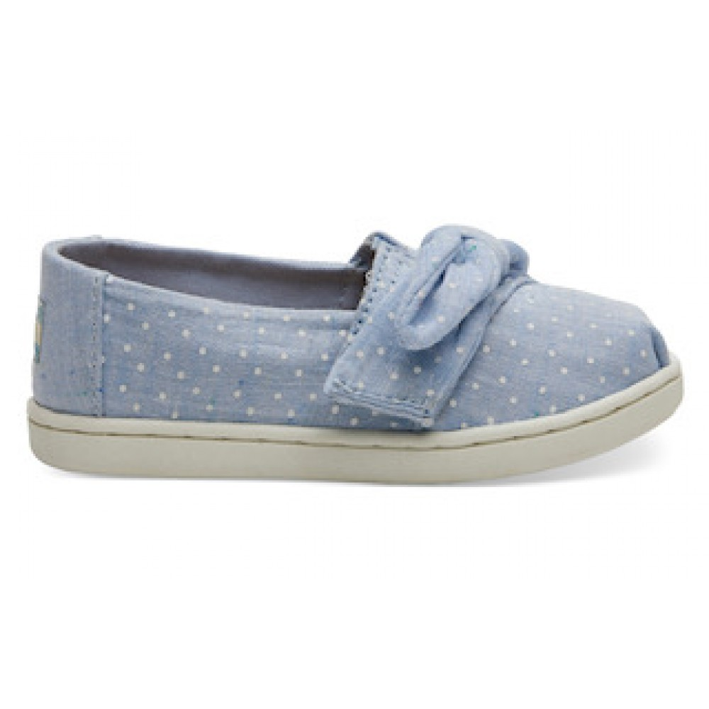 Toms Light Bliss Blue Speckled Chambray Dots Bow 10013299